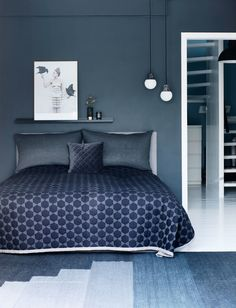 mr price home bedroom decor ideas Dark Blue Bedrooms, Blue Gray Bedroom, Blue Bedroom Decor, Blue Rooms, Home Bedroom, Bedroom Wall, Bedroom Ideas, Bedroom Apartment, Design Bedroom