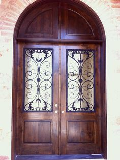 Wood And Wrought Iron Front Door/ Entry Door With A Solid Wood Transom
