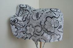 BABY BONNET  Vintage Inspired  Black on White by 4PennyGirl