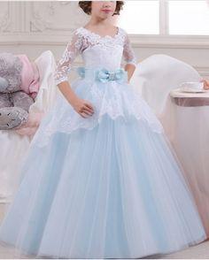 Flower Girl Dress, Blue A-line Lace Bodice Top