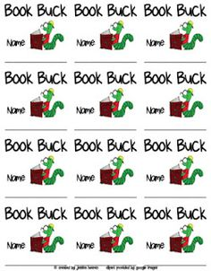AR reading incentive- fill up row on sticker chart and earn a Book Buck. *Testing as reading incentive at home as he does well in school. May turn it to Lego bucks at home: read four books and get a new set. Ar Reading, Reading Incentives, Behavior Incentives, Reading Club, Reading Logs, Reading Counts, Student Incentives, Reading Tree, Guided Reading