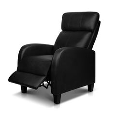 Recliner Chair Luxury Padded Reclining Lounge Armchair PU Leather Black