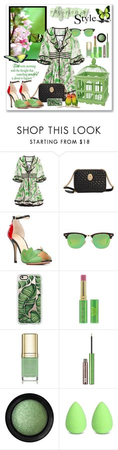 """""""Green Floral for Spring"""" by sjk921 ❤ liked on Polyvore featuring Roberto Cavalli, WALL, Charlotte Olympia, Ray-Ban, Casetify, Tata Harper, Dolce&Gabbana, Urban Decay, Vincent Longo and beautyblender"""