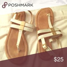 Aldo flat sandals Worn twice, white and gold. Aldo Shoes Sandals
