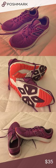 New balance purple cross training shoes Only worn 2 times in jazzercize, then I moved to Florida and I don't need them anymore! Never worn outside. Very comfortable arch support New Balance Shoes Athletic Shoes