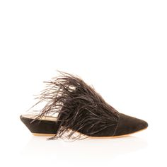 Charlotte Stone flat babouche suede and feather statement sandal. Part bedroom slipper part mules. Effortlessly cool and unique slide.