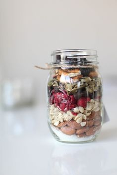"healthy trail mix jar as guest giveaway at event. More entertaining ideas and healthy recipes with Arielle Haspel of bewellwitharielle.com and Host of Glamour.com's cooking series ""Treat Yourself"" @glamourmag"