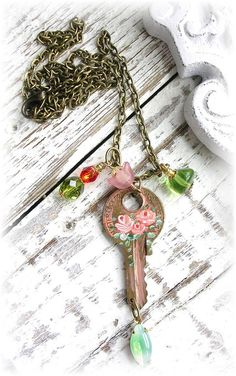 Vintage Key Charm Necklace Painted Coral Peach Roses Floral by TheVintageHeart Shabby Chic