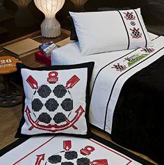 Jogo de cama solteiro, tapete e almofadão do Corinthians