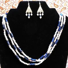 """Chloe's Creations Item 288- 19"""" Blue Chalcedony 3 Strand Necklace with Earrings. by JewelryMadeByChloe on Etsy"""