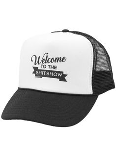 """Welcome To The Shit Show"" Trucker Hat by Dpcted Apparel (Black/White) - www.inkedshop.com#inked #inkedmag #inkedgirls #inkedguys #blackandwhite #truckerhat #welcometotheshitshow #hatsonhats"