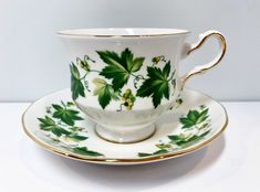 Queen Anne Teacup and Saucer Green Vine Cup Antique Teacups Vintage Antique Tea Cups Vintage Friendship Cup English China Cups Antique Tea Cups, Vintage Cups, Cup And Saucer Set, Tea Cup Saucer, English Tea Cups, English China, Chocolate Cups, Queen Anne, Bone China