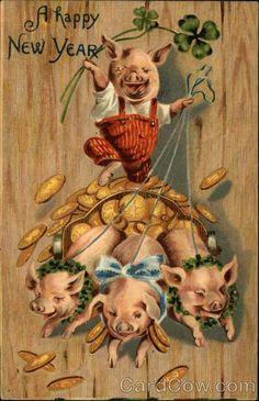 Fantasy~Dressed Pig~Red Bib Overalls~Rides Gold Coins Pulled By Piglets~Embossed Vintage Greeting Cards, Vintage Christmas Cards, Christmas Art, Vintage Happy New Year, Happy New Year Cards, New Year Postcard, Postcard Album, Pig Images, Happy Pig