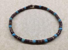 MENS 4mm COCONUT & TURQUOISE Gemstone Bead BRACELET - Native American Inspired