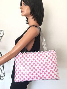 Rebagz Bag Tote Polka Dot Pink Women Trendy Weaved Hip  | eBay