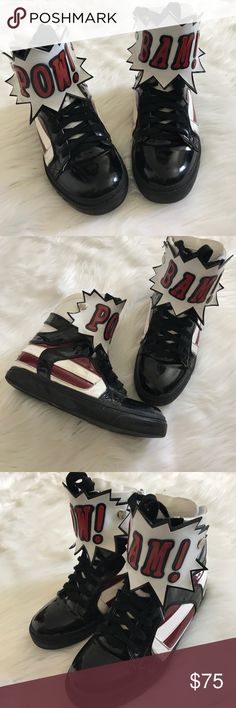 "Jeffrey Campbell Pow 💥 Bam 💥 High Tops Jeffrey Campbell Rare Limited Edition High Top sneakers no size tag fits 7 Women's .lightly used with flaws shown in photos.9.5"" bottom soles length from heel to point of toe.Shoe height 7"" including soles. Jeffrey Campbell Shoes Sneakers"