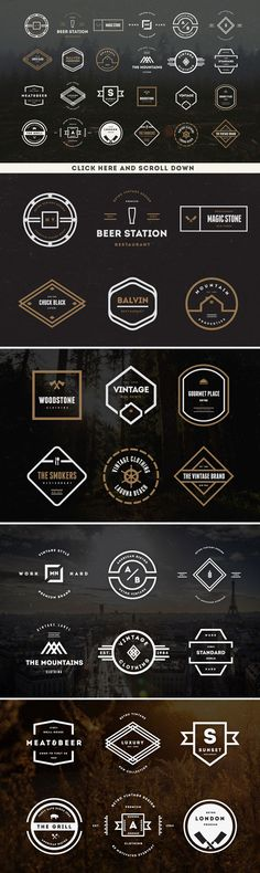 These are just a bunch of different vintage design logo ideas. It would like to focus on some of the simpler ones so it is easy to remember and draw them out.