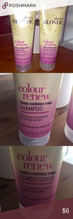 John Frieda Sheer Blonde Colour Renew John Frieda Sheer Blonde Colour Renew Shampoo & Conditioner. Full size. Used once. This is a purple shampoo used to neutralize brassiness. Other