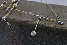 Constellation Necklace. 14k yellow gold, sterling silver magnets, rose cut diamonds, steel.  by Johnny Ninos