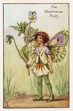 Heart'sease Flower Fairy Vintage Print, c.1927 Cicely Mary Barker Book Plate Illustration