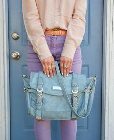 blue, lilac, peach, bag, pastel- cool color combo!