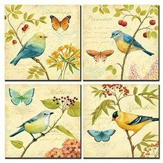Natural art - Bird and Flower Painting 4 pcs Wall Art Lanscape Painting Print on Canvas Wall Decoration Wrapped with Wooden Frame Ready to Hang Stretched Canvas Prints, Canvas Art Prints, Painting Prints, Canvas Wall Art, Flower Painting Images, Acrylic Painting Flowers, Pictures To Paint, Print Pictures, Bird Pictures