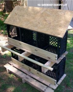 This would be a good idea with wooden crates rather than plastic. Don't want my hens thinkin they live in the ghetto