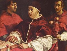 Pope Leo X and his cousins, cardinals Giulio de' Medici and Luigi de' Rossi. By Raphael.