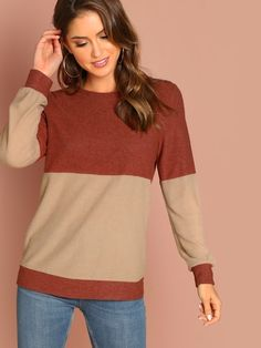 5b68509cf0 Shop Two Tone Long Sleeve Pullover online. SHEIN offers Two Tone Long  Sleeve Pullover & more to fit your fashionable needs.