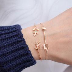 Simple rose gold bracelet with vine leaf design from Majolie (afflink)