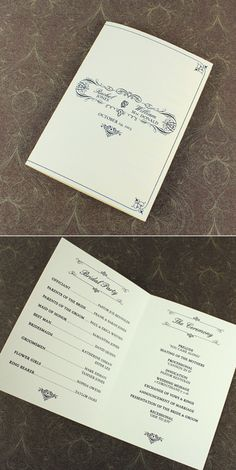 4-Page Wedding Program Template with Vintage Typography