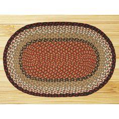 "EarthRugs Burgundy/Mustard Braided Area Rug Rug Size: Oval 2'3"" x 3'9"""