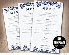 Menu Card Template  - DIY Printable Wedding Menu Card, Blue Wedding Instant Download, Blue Menu Template by BusinessBranding on Etsy