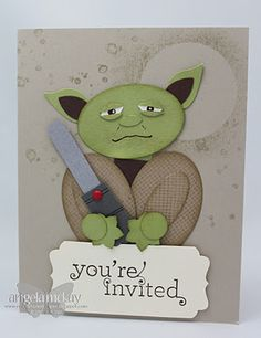 Stampin' Up!  Punch Art Yoda. We dont have to do starwars as a theam but here is an idea for the invites.