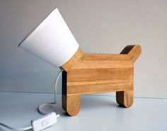 Wooden dog lamp design and original by AtelierduPrieure on Etsy, €90.00  TOO CUTE!