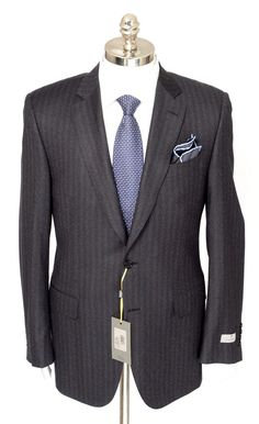 CANALI 1934 Gray Striped Flannel Wool 2Btn Flat Front Suit  |  Get in there! http://www.frieschskys.com/suits  |  #frieschskys #mensfashion #fashion #mensstyle #style #moda #menswear #dapper #stylish #MadeInItaly #Italy #couture #highfashion #designer #shopping