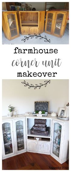 Our corner unit was on it's last legs. With a little help from Miss Mustard Seed Milk Paint - Farmhouse White it now has a new lease on life | www.raggedy-bits.com #DIY #makeover #upcycle #MissMustardSeed #paintedfurniture #farmhouse