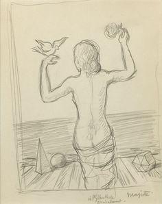 René Magritte - Dessin Original, ca. 1940