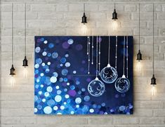 Items similar to SHINE ON : Acrylic Glass Christmas ornaments with Bokeh light background on Etsy Small Canvas Paintings, Small Canvas Art, Mini Canvas Art, Canvas Size, Canvas Painting Tutorials, Diy Painting, Art Painting Gallery, Bokeh Lights, Acrylic Art
