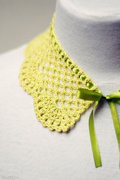 Chartreuse crochet lace collar / girls detachable peter pan collar by Nastiin