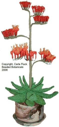 Beaded Flowers -Agave in Raku by Carla Fluck.