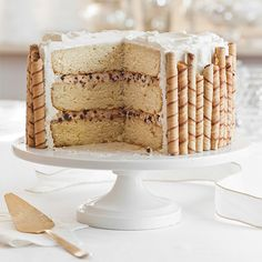 Take a trip to Little Italy in your own home with this cake that reinvents the beloved cannoli--mascarpone cream and chocolate morsels combined with moist cake layers and a whipped cream frosting. Now that's amore!