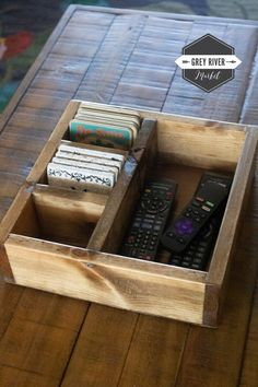 Large Remote Control Storage Box / Large Coaster Box / Remote Control Organizer / Box for Coasters / Coaster Storage Box x x Remote Control Organizer, Remote Control Holder, Remote Caddy, Coaster Furniture, Diy Furniture, Furniture Design, Furniture Makeover, Diy Wood Projects, Woodworking Projects