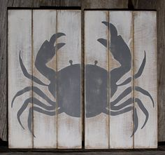 Crab on Wood Planks Sign Beach Wall Art Beach Wall by KokuaDesign