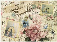 Rice Paper for Decoupage Decopatch Scrapbook Craft Sheet Vintage Style Flower