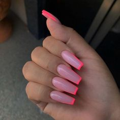 In summer I always like to wear a lot of color on my nails. Not only on my nails but my clothing too haha. So these super cool nails are perfect for upcoming spring and summer. They are colorful but… Fantastic Nails, Fabulous Nails, Gorgeous Nails, Pretty Nails, Perfect Nails, Pink Gel, Pink Acrylic Nails, Pink Acrylic Nail Designs, Pink Tip Nails