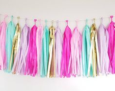 Whimsical Tassel Garland DIY Kit- unicorn party, baby shower, photo props - Home Page Baby Shower Photo Booth, Baby Shower Photos, Rustic Birthday Parties, Unicorn Birthday Parties, Diy Tassel Garland, Tassels, Baby Shower Cakes Neutral, Burlap Party, Glitter Wine