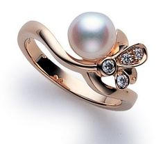 18K Pink-Gold Akoya Pearl Ring with Diamonds - Fashion Jewelry Charms