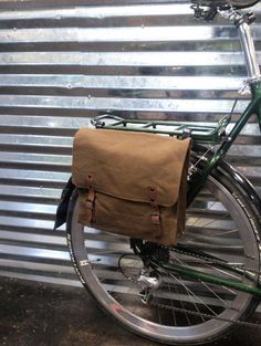 Simple Brown Canvas Bicycle Pannier by WhiteLineBags on Etsy, $40.00