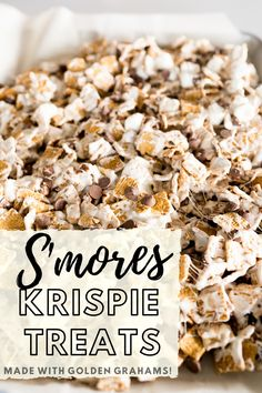 Smores bars are a no bake treat made of golden grahams marshmallows butter and chocolate chips from start to belly in less than 15 minutes you ll want to keep this recipe handy! cooking with karli golden grahams smores bars bars desserts Smores Bar Recipe, Smores Dessert, Easy Dessert Bars, Smores Cake, Baking Recipes, Dessert Recipes, Kid Desserts, Easy Recipes, Breakfast Recipes